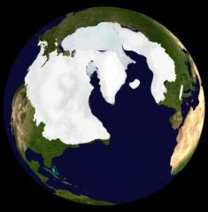 The maximum ice distribution on the northern hemisphere during the last ice age, a period which was simulated by Andreas Schmittner and his colleagues to determine how much the world should warm for each doubling in concentration of CO2 in the Earth's atmosphere. Credit: Dr. Martin Jakobsson, Stockholm Geo Visualization Lab.