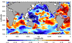 Surface salinity changes for 1950 to 2000. Red indicates regions becoming saltier, and blue regions becoming fresher. Credit: Paul Durack