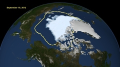 Satellite data reveal how the new record low Arctic sea ice extent, from Sept. 16, 2012, compares to the average minimum extent over the past 30 years (in yellow). Sea ice extent maps are derived from data captured by the Scanning Multichannel Microwave Radiometer aboard NASA's Nimbus-7 satellite and the Special Sensor Microwave Imager on multiple satellites from the Defense Meteorological Satellite Program. Credit: NASA/Goddard Scientific Visualization Studio